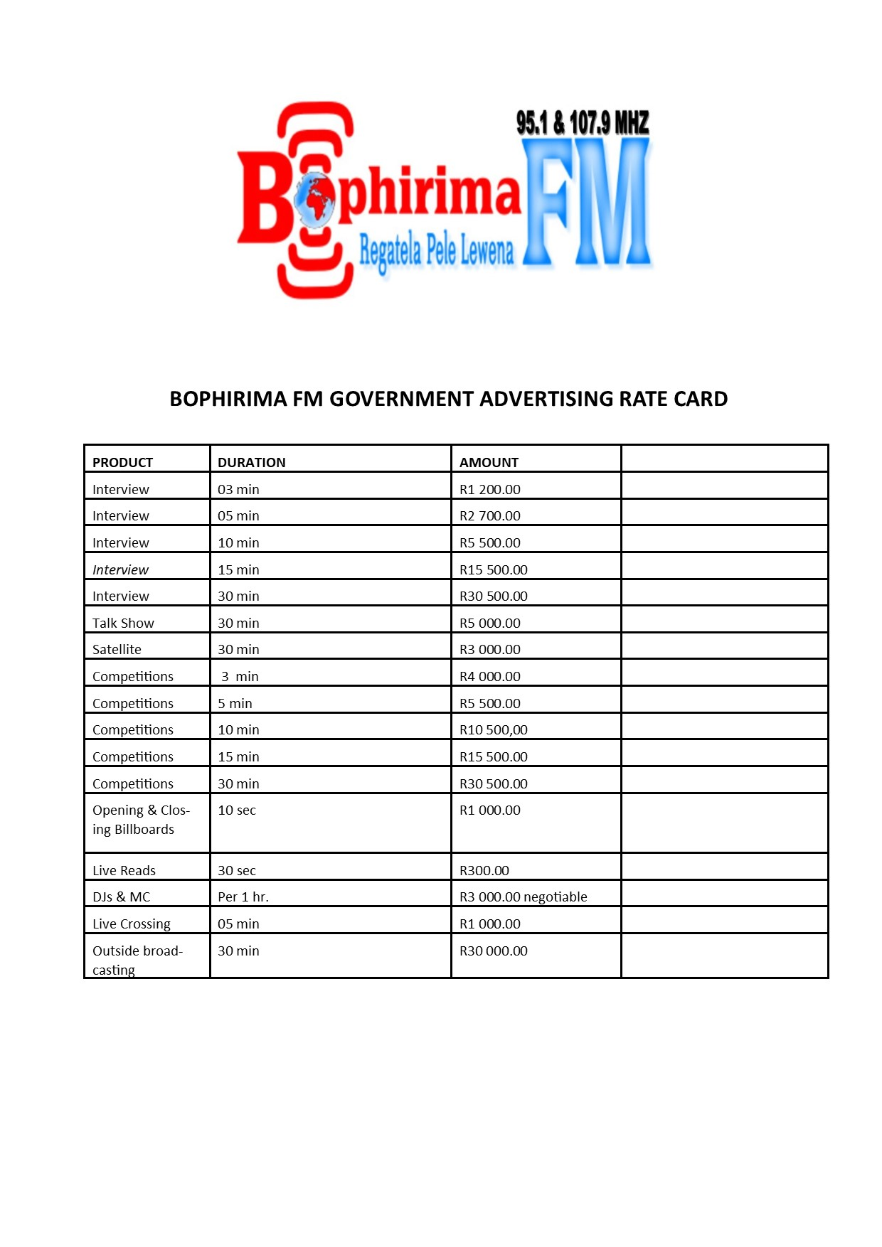 Government Rate card 2